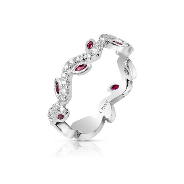 14kt White Gold Ruby & Diamond Band