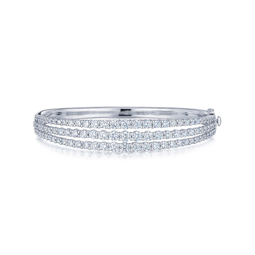 Three Row Bangle with Diamonds in 18k White Gold
