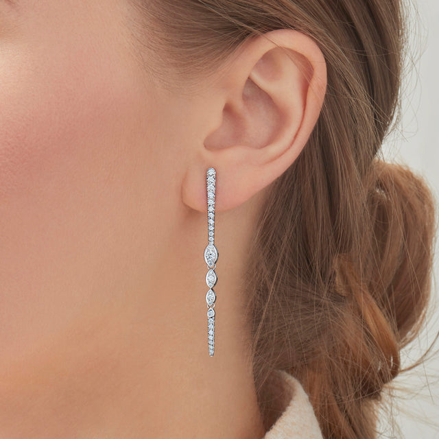 Vine Collection Drop Earrings with Diamonds
