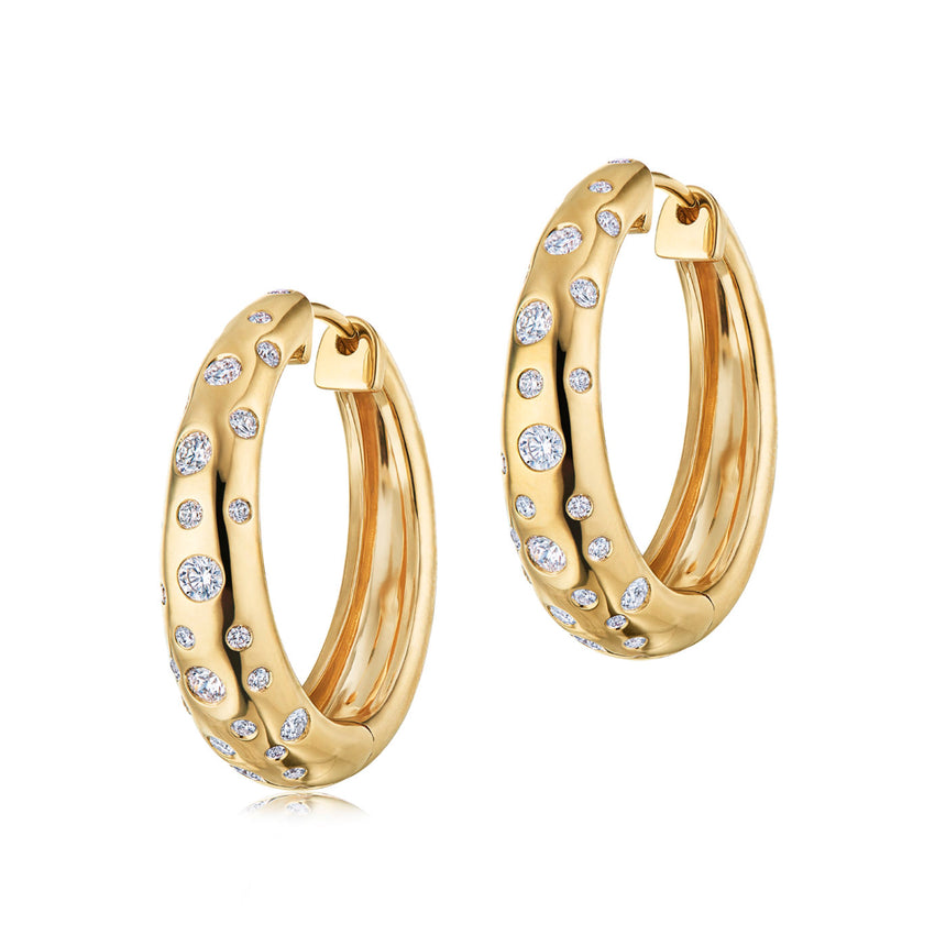 Cobblestone Hoop Earrings with Diamond Accents