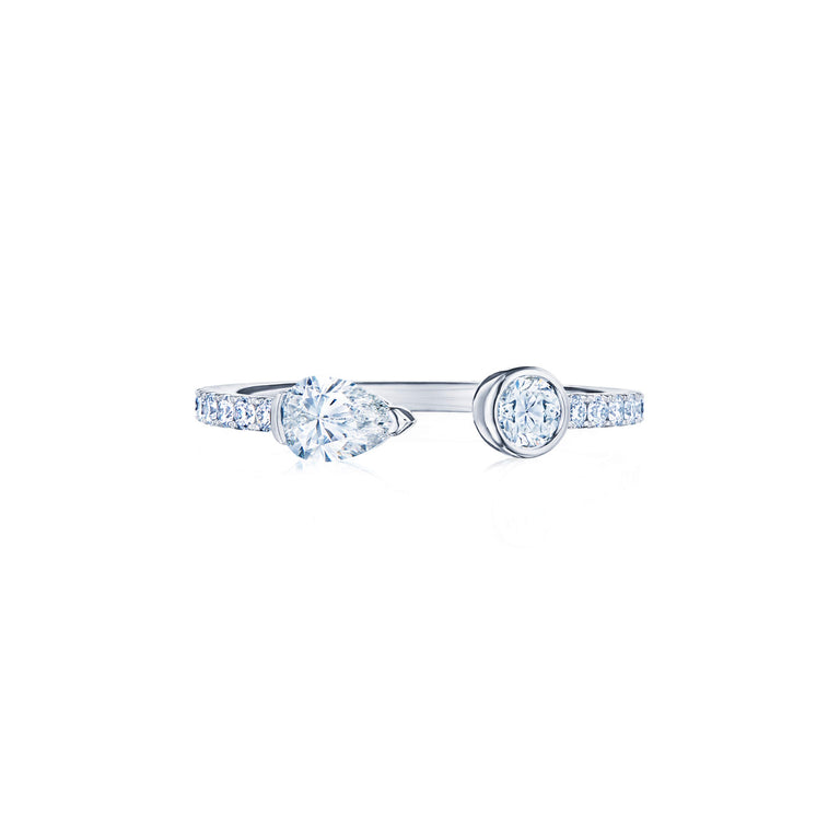Eclipse Open Ring with Pear Shape and Round Diamonds