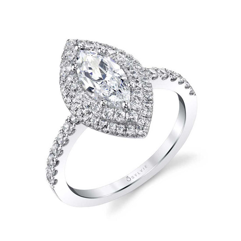 Marquise Double Halo Engagement Ring S1086-MQ - Chalmers Jewelers
