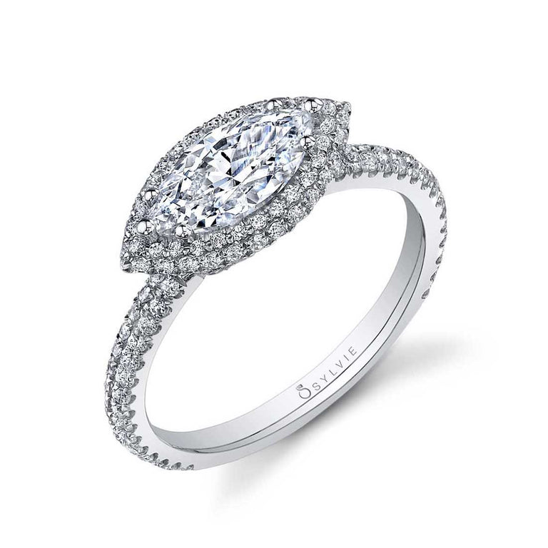 Marquise Shaped Halo Engagement Ring SY630-MQ - Chalmers Jewelers