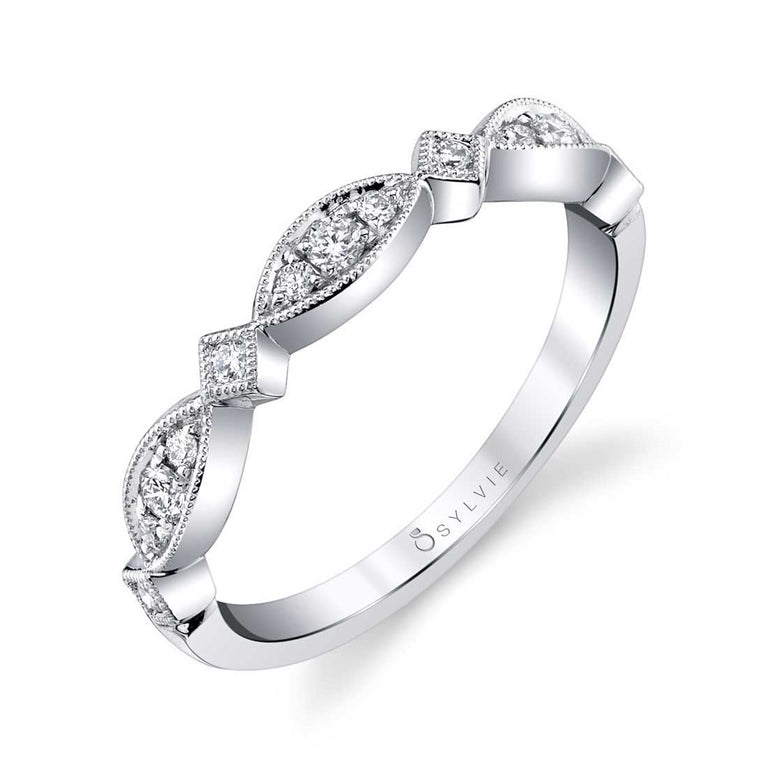 Marquise Shaped Stackable Band B0038-WG - Chalmers Jewelers
