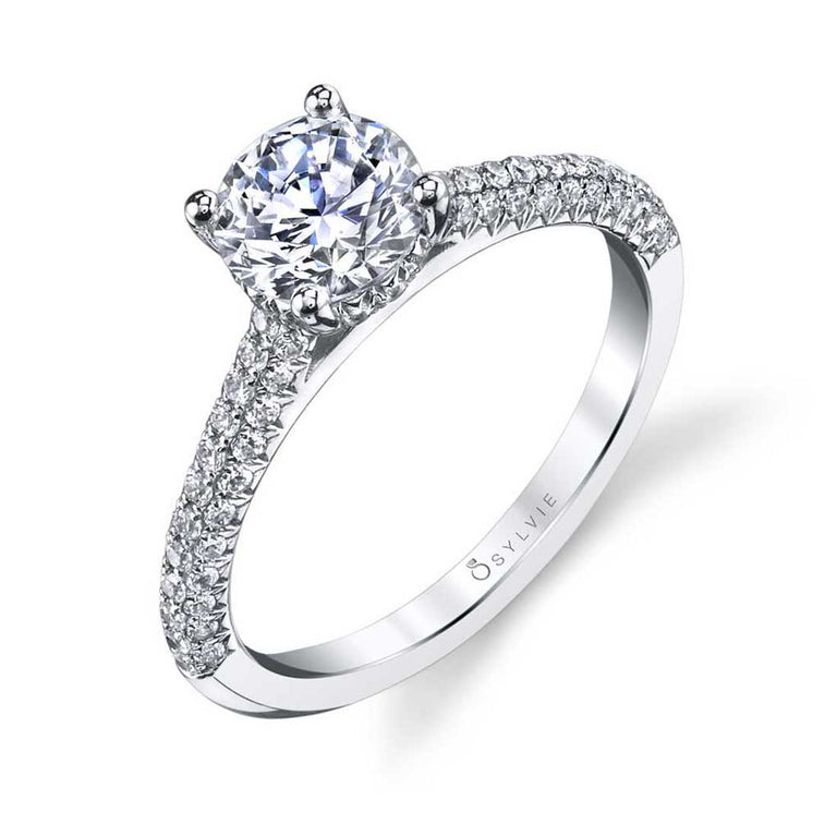 Micro Pave Solitaire Engagement Ring S1521 - Chalmers Jewelers