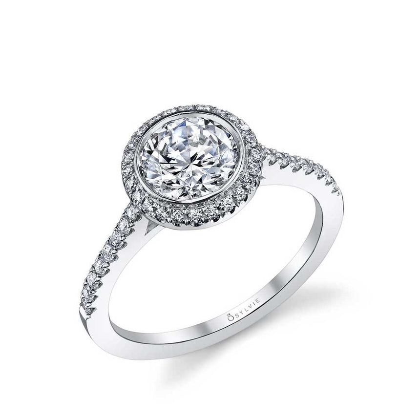 Modern Bezel Set Halo Engagement Ring S1091 - Chalmers Jewelers