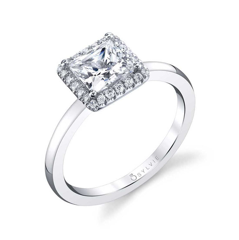 Modern Princess Cut Engagement Ring With Halo SY293-PR - Chalmers Jewelers