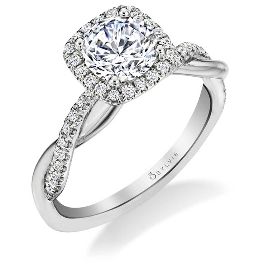Spiral Engagement Ring With Cushion Halo S1724-RB-CH-WG - Chalmers Jewelers