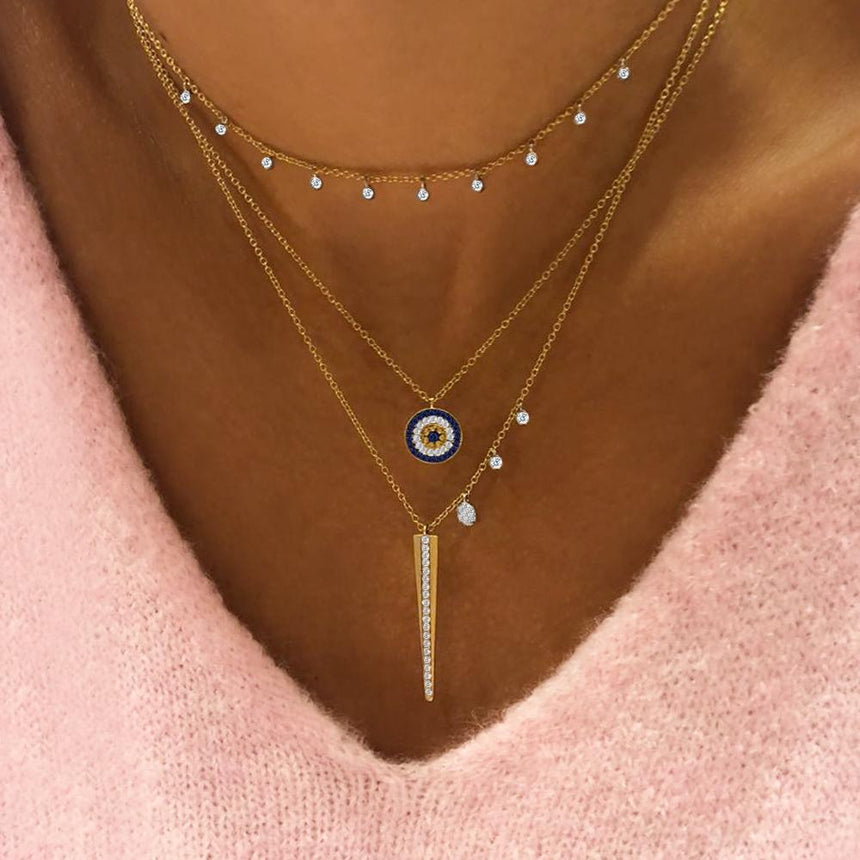 Gold Necklace with 10 Diamond Bezels