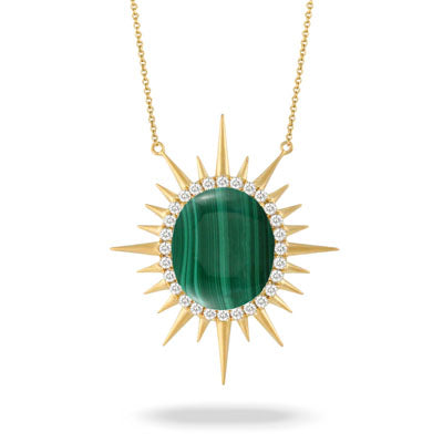 Malachite and diamond necklace - Chalmers Jewelers