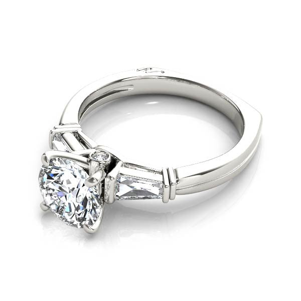 Round And Baguette Diamond Engagement Ring