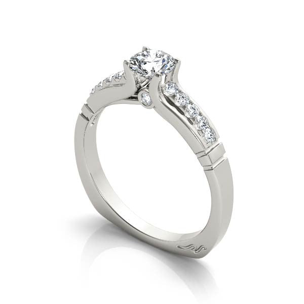 Solitaire With Five Diamond Shoulder Engagement Ring