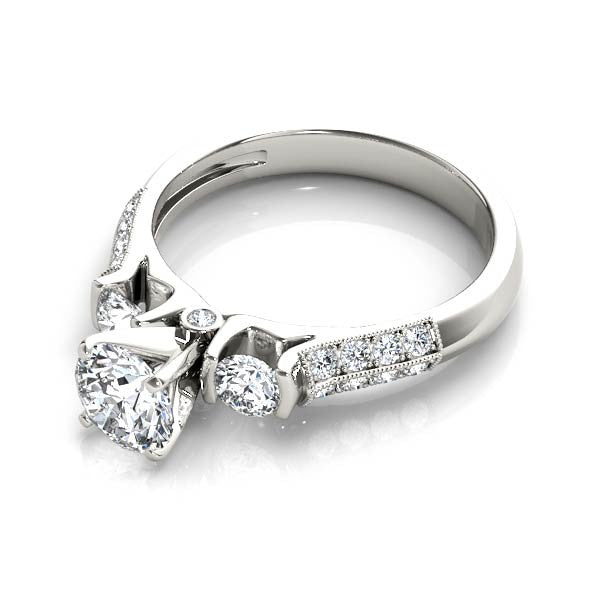 Three Stone Double Channel Set Engagement Ring