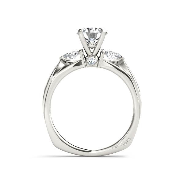 Solitaire With Pear Side Stones Engagement Ring