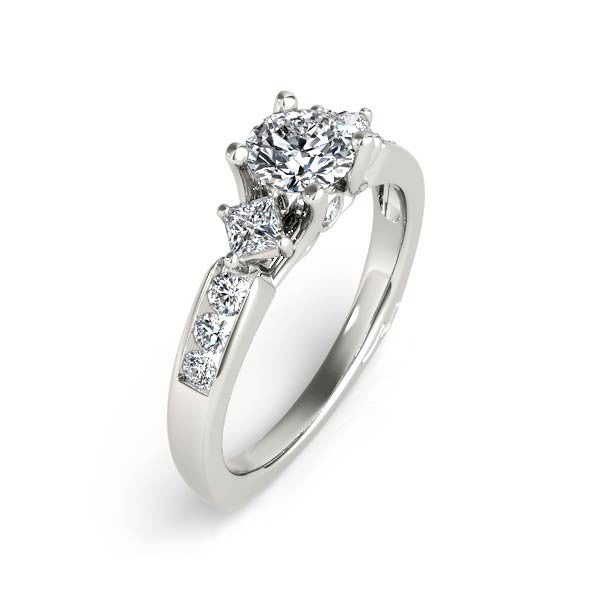 Three Center Stone With Princes Cut Engagement Ring
