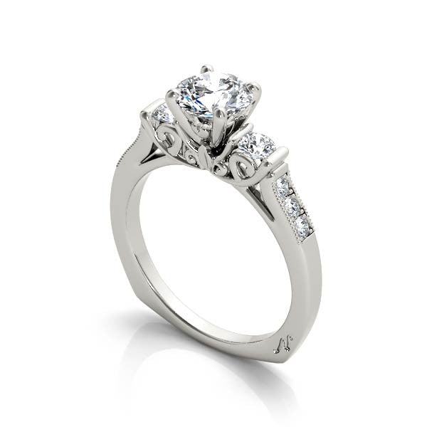 Three Stone Saint Engagement Ring