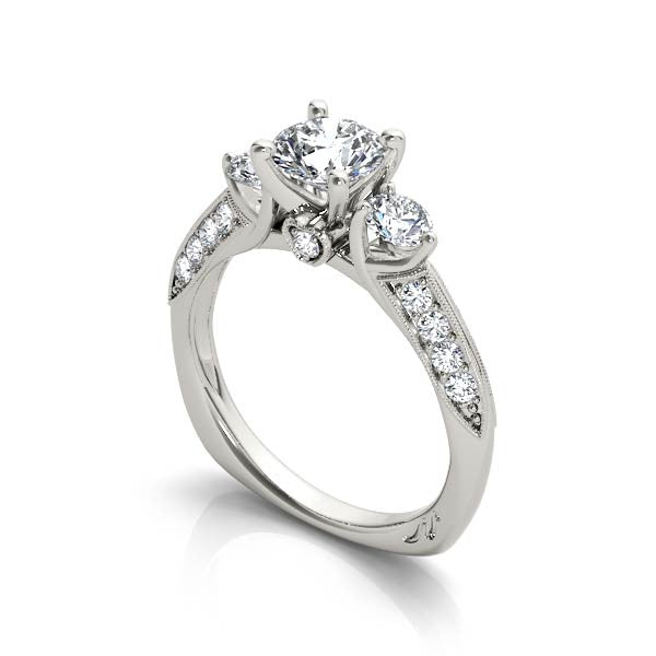 Three Stone With Diamond Heart Engagement Ring