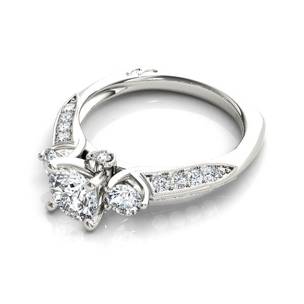 Three Stone With Diamond Heart Engagement Ring - Chalmers Jewelers
