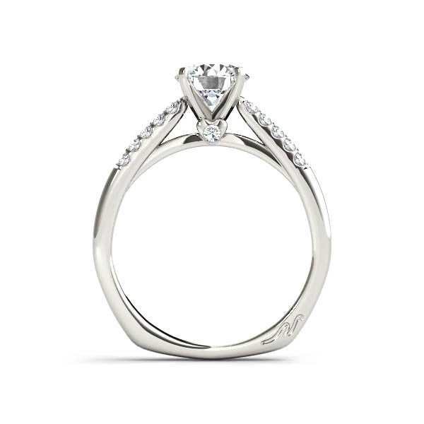 Solitaire Two Row Diamond And Heart Engagement Ring