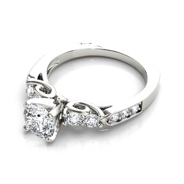Carved Solitaire Engagement Ring