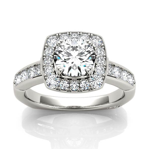 Rounded Square Halo Engagement Ring