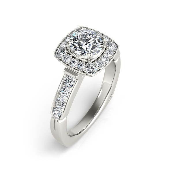 Rounded Square Halo Engagement Ring - Chalmers Jewelers