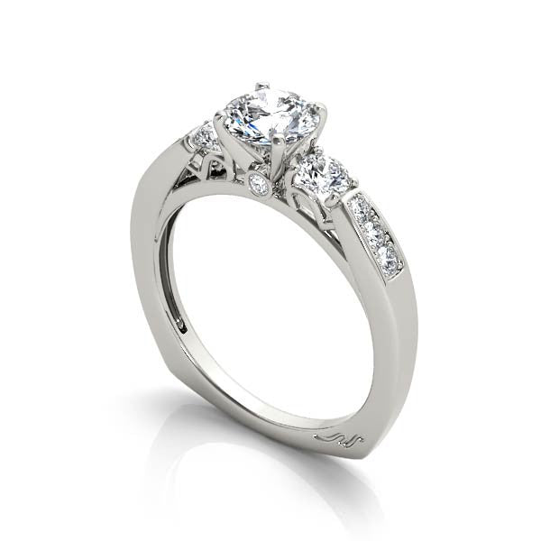 Three Center Stone Solitaire Engagement Ring