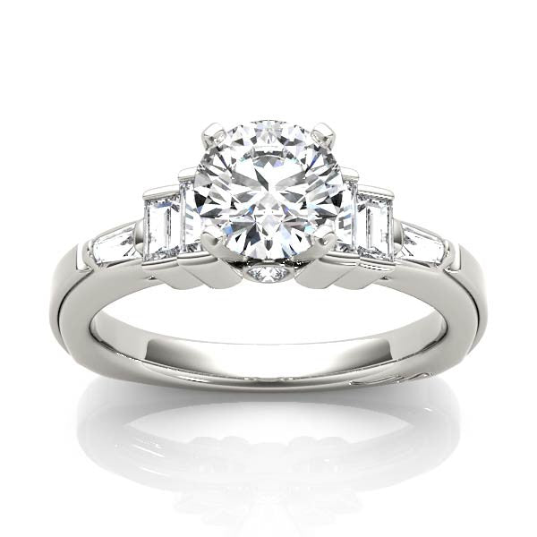 Solitaire With Emerald Cut Side Stones Engagement Ring