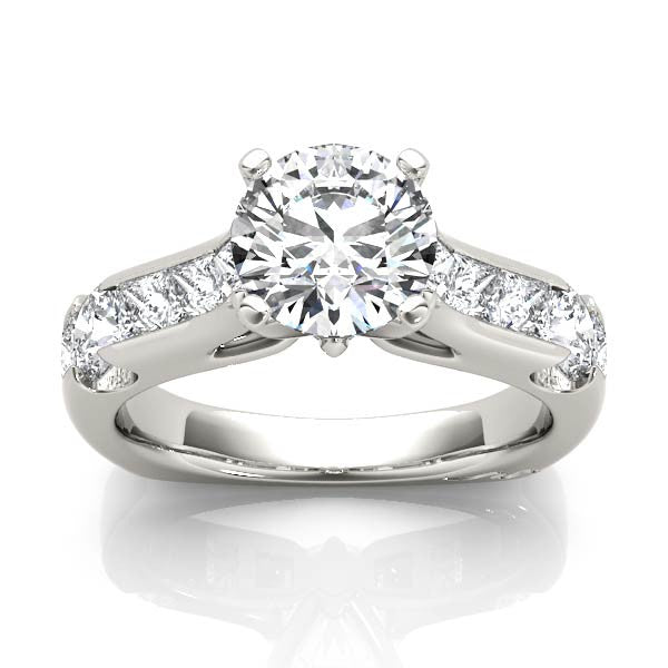 Solitaire Diamond Shoulder Engagement Ring
