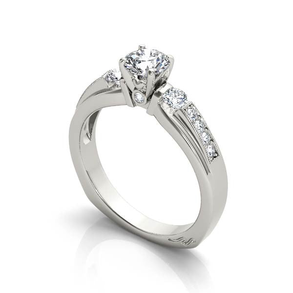 Three Stone With Half Bezel Set Engagement Ring