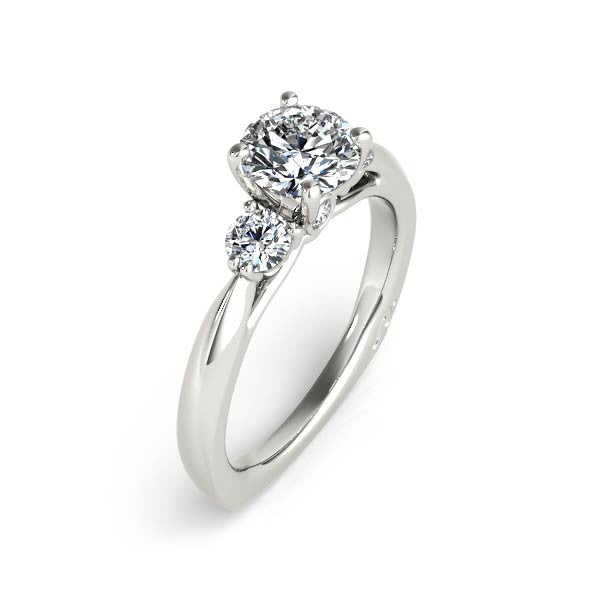 Three Stone Round Diamond Engagement Ring