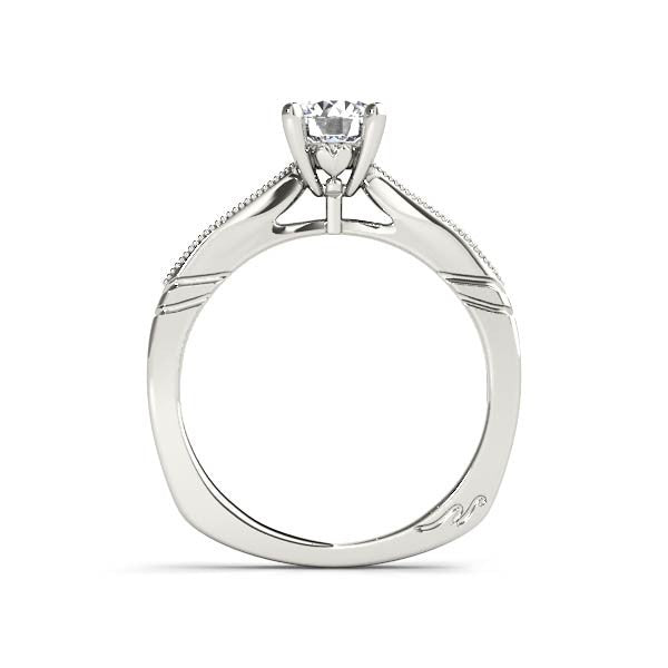 Solitaire With Milgrain Diamond Shoulder Engagement Ring