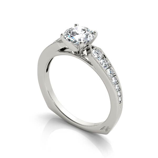 Ascending Diamond Milgrain Engagement Ring