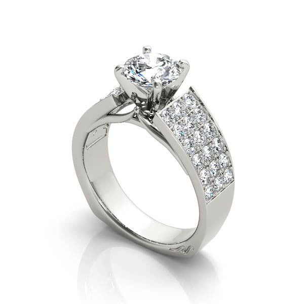 Three Row Diamond Engagement Ring