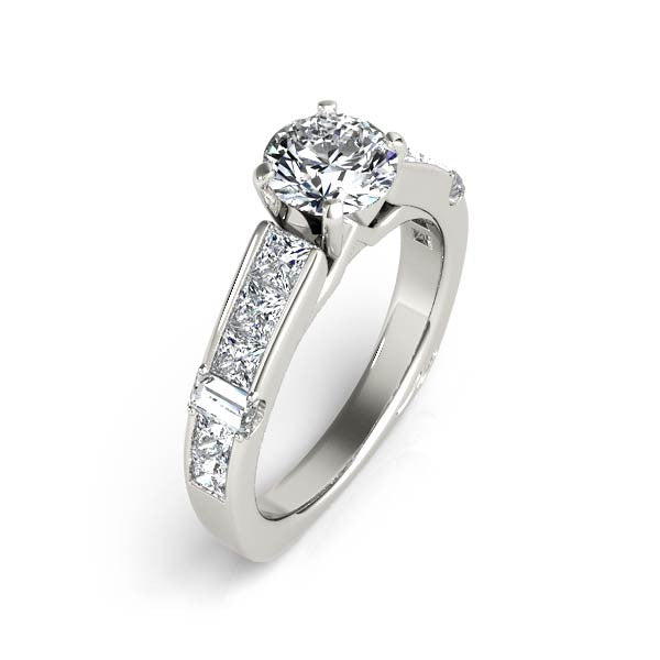 Solitaire & Princess Cut Diamonds Engagement Ring