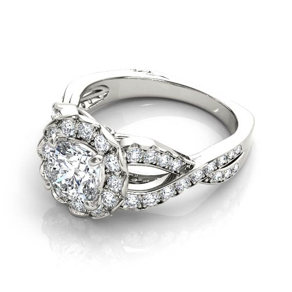 Twisted Floral Diamond Engagement Ring
