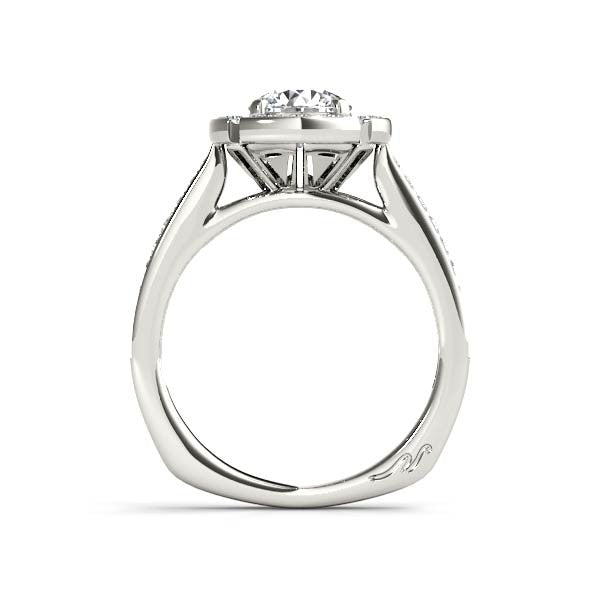 Flat Halo Diamond Engagement Ring