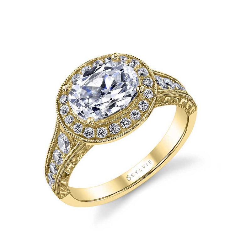 Oval Shaped East To West Halo Engagement Ring SY978 - Chalmers Jewelers