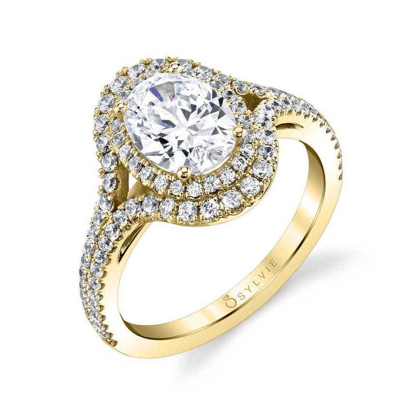 Oval Shaped Double Halo Engagement Ring S1879 - Chalmers Jewelers