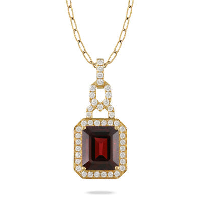 GARNET 18K GOLD NECKLACE