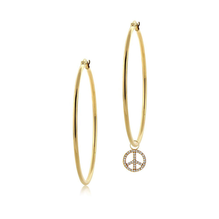 Diamond Peace Sign Charm