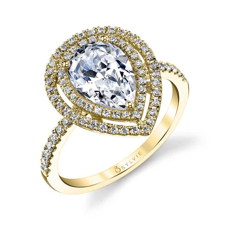 Pear Shaped Engagement Ring With Double Halo S1182 - Chalmers Jewelers