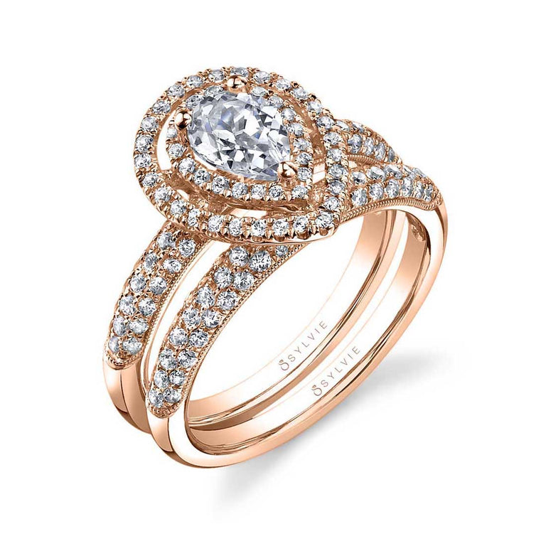 Pear Shaped Engagement Ring With Double Halo SY688-PS - Chalmers Jewelers