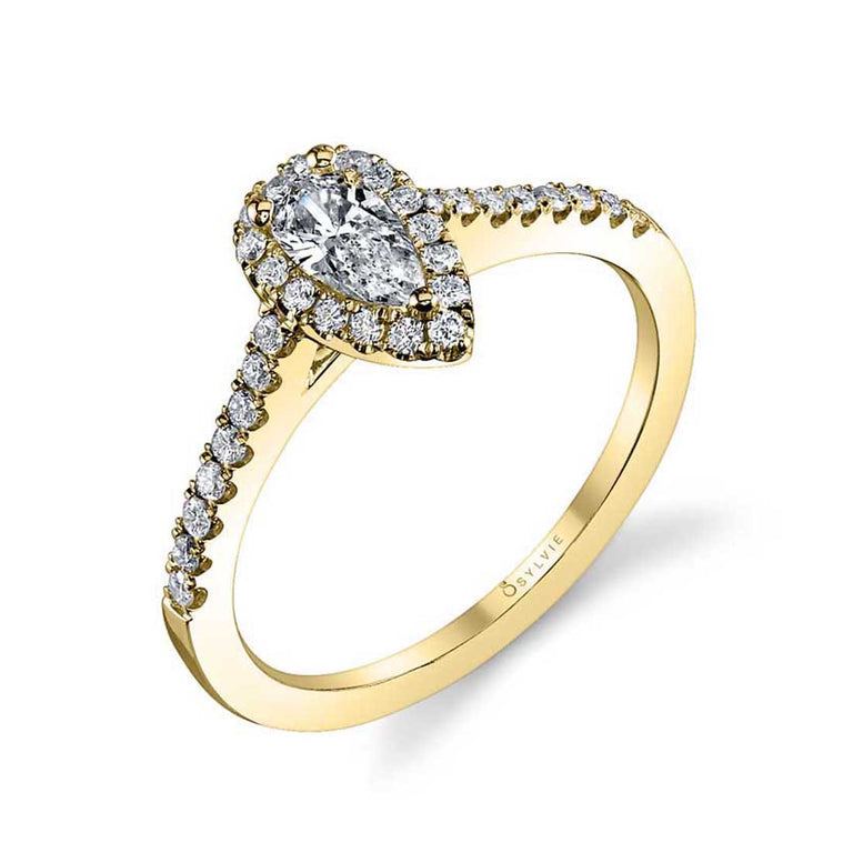 Classic Petite Pear Shaped Engagement Ring With Halo SY696-PS - Chalmers Jewelers