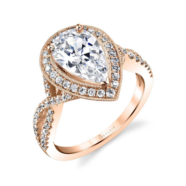 Pear Shaped Engagement Ring With Halo S1776 - Chalmers Jewelers
