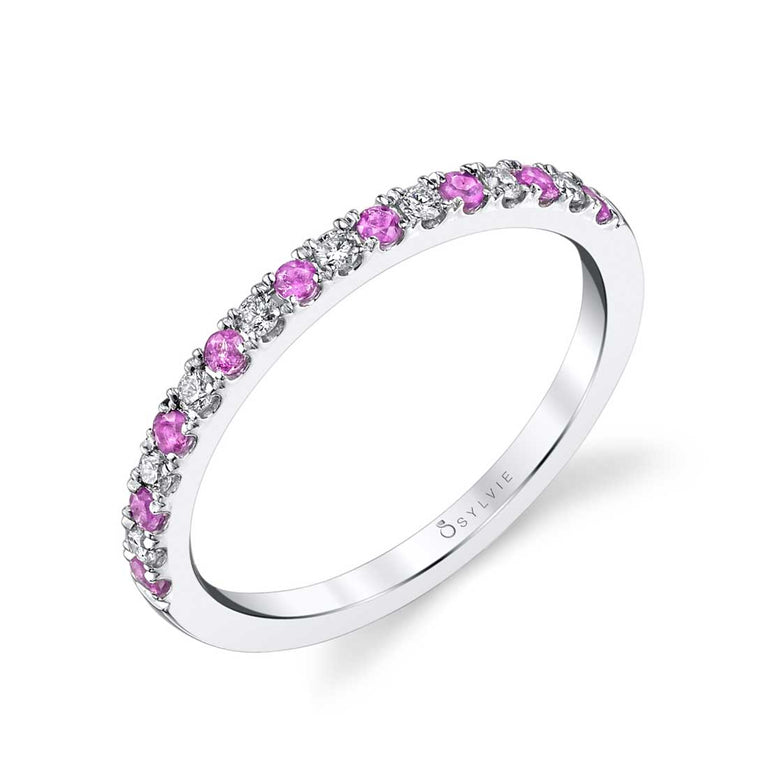 Pink Sapphire & Diamond Wedding Band B4002-PS - Chalmers Jewelers