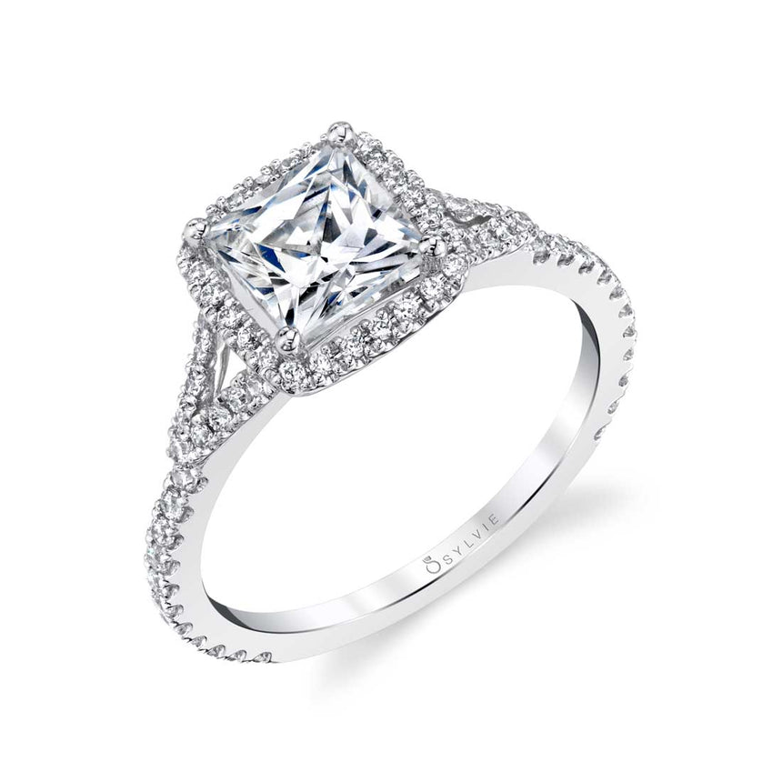 Princess Cut Halo Engagement Ring SY595 - Chalmers Jewelers
