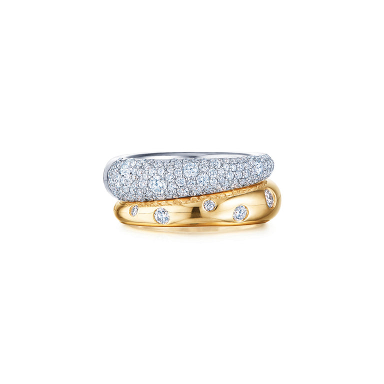 Cobblestone Double Band Ring with Diamonds
