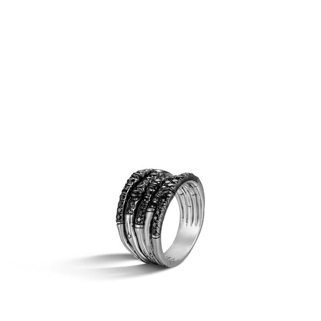 Bamboo Ring with Black Sapphire - Chalmers Jewelers