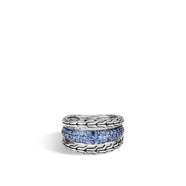 Classic Chain Ring with Blue Sapphire - Chalmers Jewelers